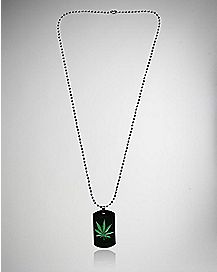 Pot Leaf Dog Tag Necklace