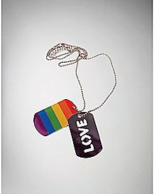 Double Rainbow Love Dogtag Necklace