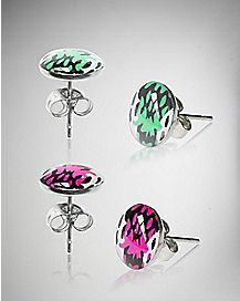 Pink & Green Stud Earring 2-Pack