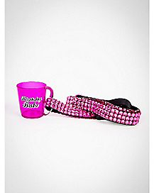 Rhinestone Birthday Babe Shot Glass Lanyard 2 oz