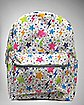 Zebra Multicolor Stars on White Backpack