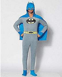 Adult Hooded Caped Batman Footie Pajamas