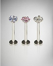 Blue & Pink CZ Labret Lip Ring 3 Pack - 16 Gauge