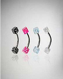 16 Gauge Colored Dice Curved Barbell Eyebrow Ring 4 Pack