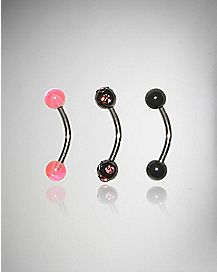 14 Gauge UV Pink Black Stone Ball Curve 3 Pack