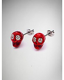Skull Stud Earrings 2 Pack - Red