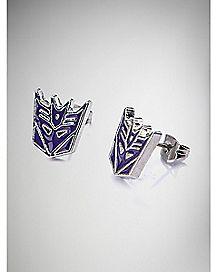 Decepticon Transformers Stud Earrings 2 Pack - Purple