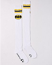 Athletic Stripe Batman Over the Knee Socks White