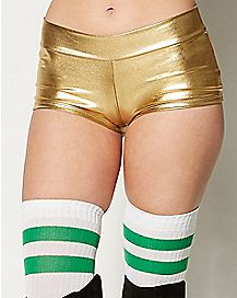 Metallic Booty Shorts - Gold