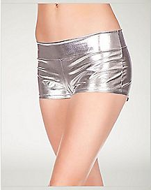 Metallic Booty Shorts - Silver