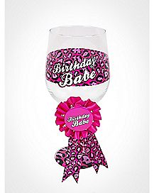Birthday Babe Wine Glass With Ribbon 18 oz