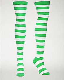Stripe Over the Knee Socks Green/White