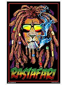 Lion Rastafari Blacklight Poster