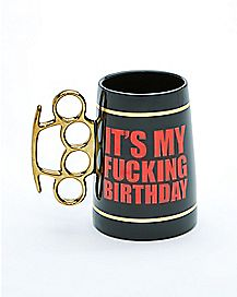 It's My Fucking Birthday Brass Knuckle Stein - 20 oz.