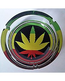 Large Rasta Leaf Glass Ashtray