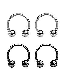 16 Gauge Silver Black Horseshoe Set