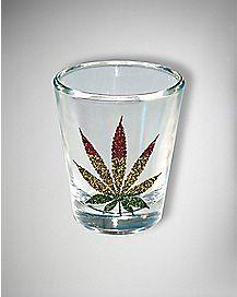 Glitter Rasta Leaf Shot Glass 1.5 oz