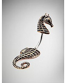 Seahorse Curved Barbell Belly Ring - 14 Gauge