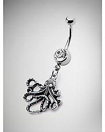 Octopus Dangle Belly Ring - 14 Gauge