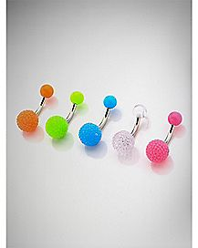 Colored Disco Belly Ring 5 Pack - 14 Gauge