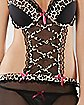 Leopard Trim Apron Teddy and G-String Set