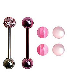 14 Gauge Pink Stripe Bling Barbell with Extra Balls