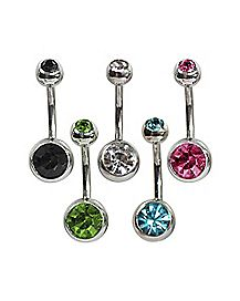 Colored Gem Belly Ring 5 Pack - 14 Gauge