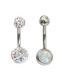 Prism CZ Barbell Belly Ring 2 Pack - 14 Gauge