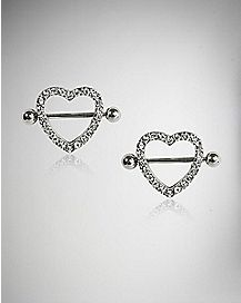 CZ Heart Nipple Rings - 14 Gauge