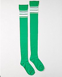 Double Athletic Stripe Over the Knee Socks
