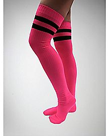 Athletic Stripe Over the Knee Socks Hot Pink/Black