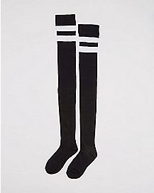 Athletic Stripe Over the Knee Socks Black/White