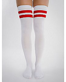 Athletic Stripe Over the Knee Socks White & Red