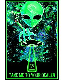 Take Me to Your Dealer Alien Blacklight Poster