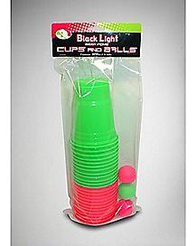 Neon Beer Pong Cups & Balls