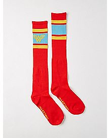 Athletic Stripe Wonder Woman Knee High Socks