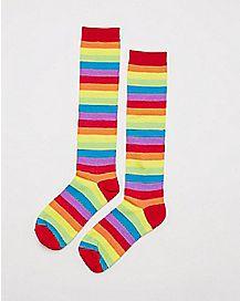Allover Stripe Knee High Socks Rainbow
