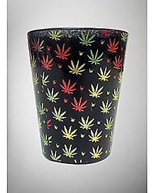 Black Allover Pot Leaf Shot Glass