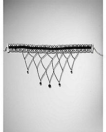 Lace Beaded Dangle Choker Necklace