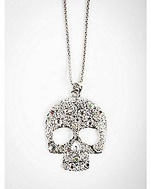 Rhodium Decorated Skull Necklace