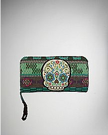 Tribal Sugar Skull Zip Wallet