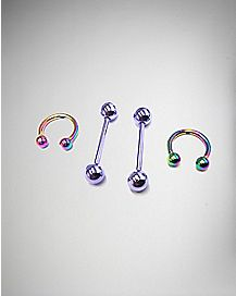 Purple Barbell & Rainbow Horshoe Nipple Ring Set 4 Pack - 16 Gauge