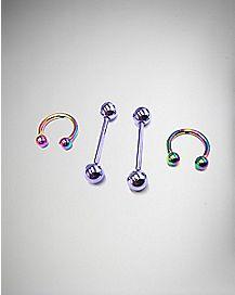 16 Gauge Purple & Rainbow Nipple Ring Set 4 Pack