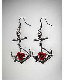 Anchor Rose Dangle Earrings