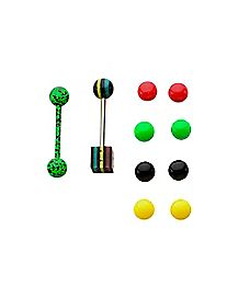 14 Gauge Rasta Dice Barbell Set with Extra Balls