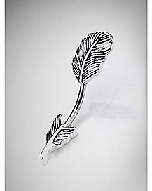 14 Gauge Silver Feather Curved Barbell