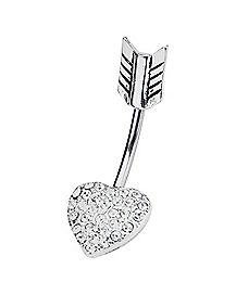 Heart Arrow Curved Barbell Belly Ring - 14 Gauge
