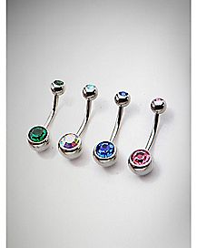 Colored Belly Ring 4 Pack - 14 Gauge