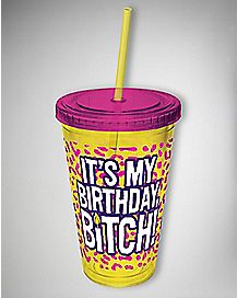 Birthday Bitch Animal Print Cup with Straw