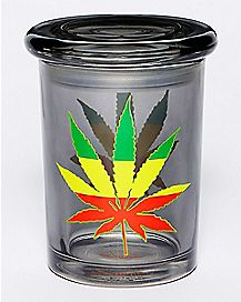 Rasta Pot Leaf Storage Jar - 12 oz Black Glass